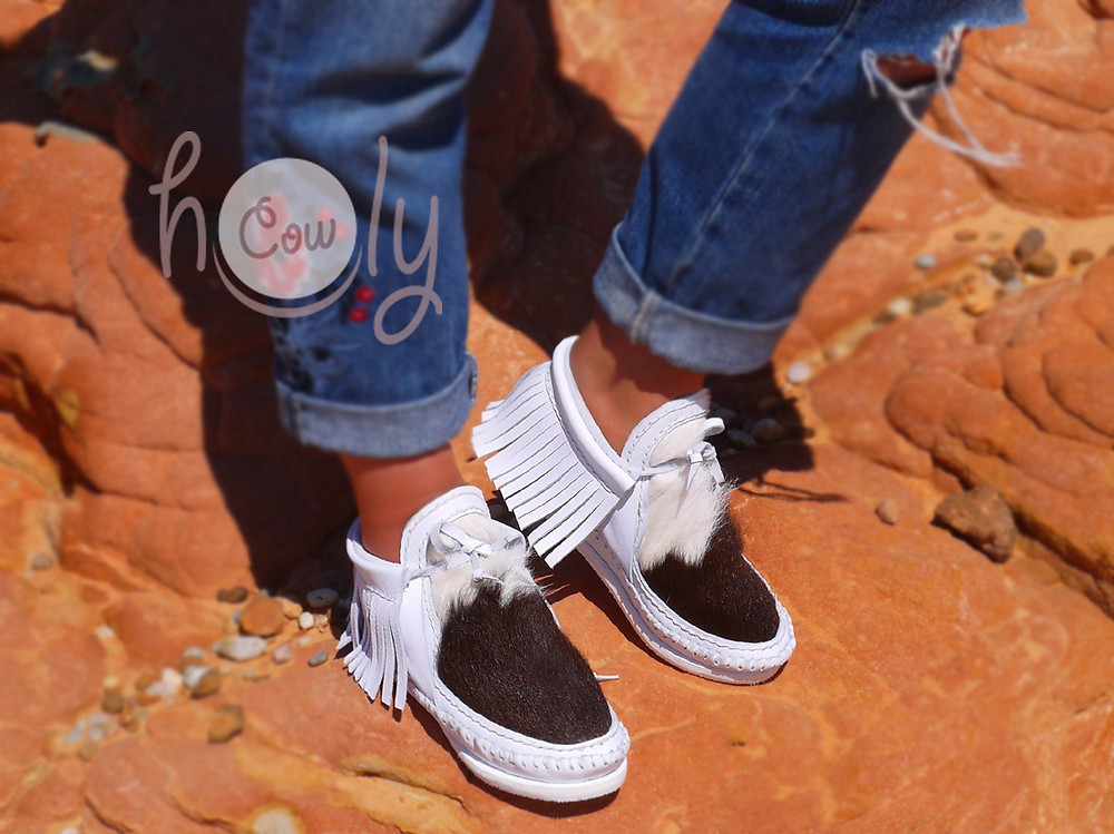 Handmade White Leather Cowhide Moccasins