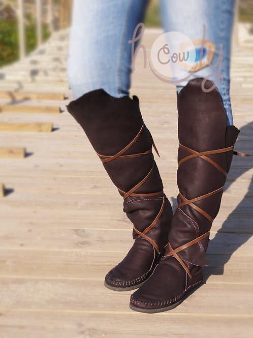 Knee High Leather Moccasins