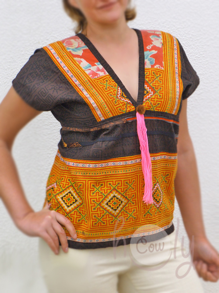Women's brown and orange cotton tribal shirt