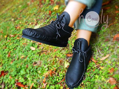 Black Leather Moccasin Boots
