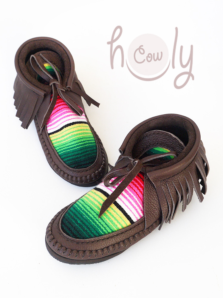 Funky Brown Leather Serape Boots