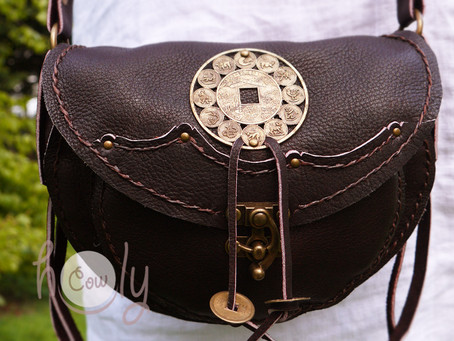 Dark Brown Leather Shoulder Bag With Tibetan Symbols