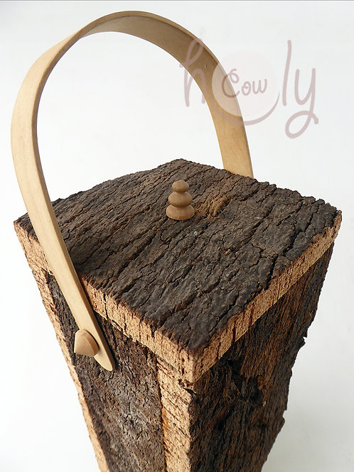 Cork Bark Container With Wooden Handle