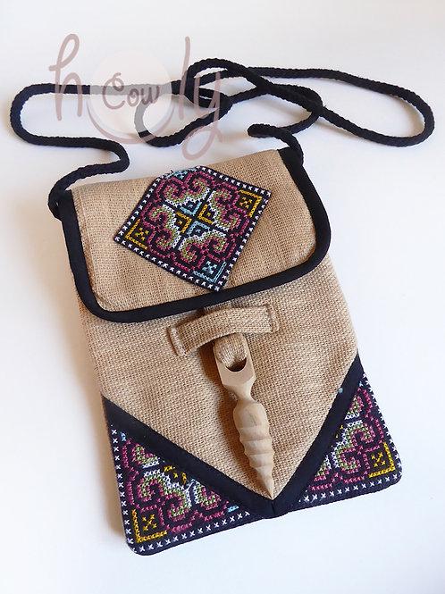 Beige And Black Tribal Shoulder Bag