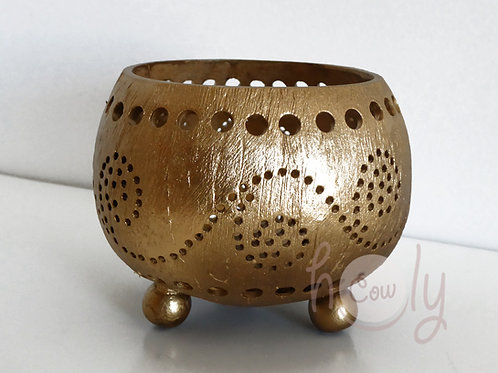 Gold Coconut Shell Candle Holders
