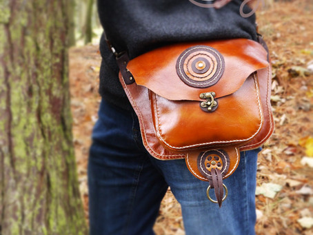 Funky Brown Leather Hip & Shoulder Bag