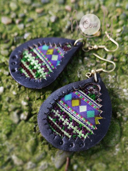Hill Tribe Leather Boho Earrings