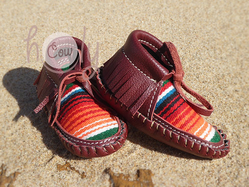 Red Baby Serape Moccasins