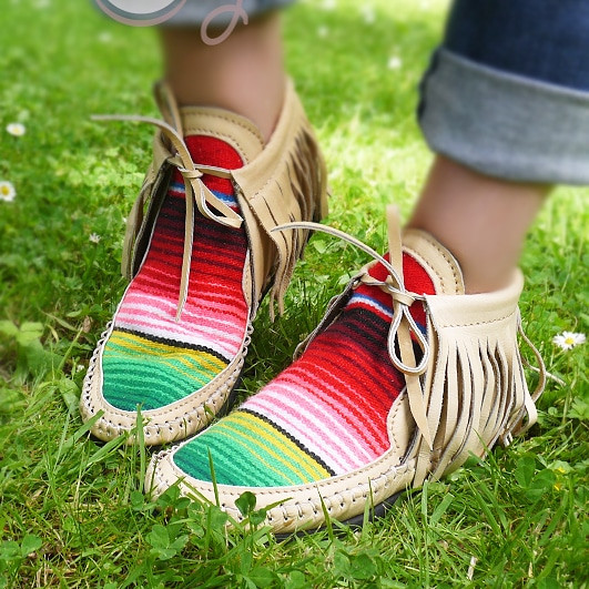 Handmade Leather Serape Moccasins