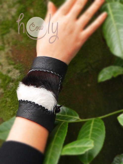 Leather Bracelet With Hairy Cowhide