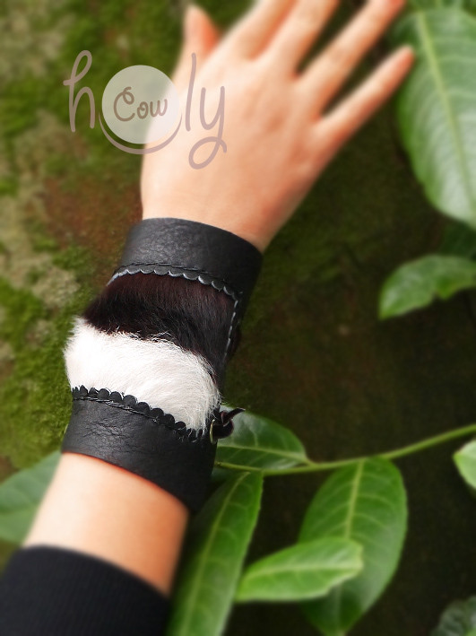 Funky Black Leather Bracelet With Hairy Cowhide