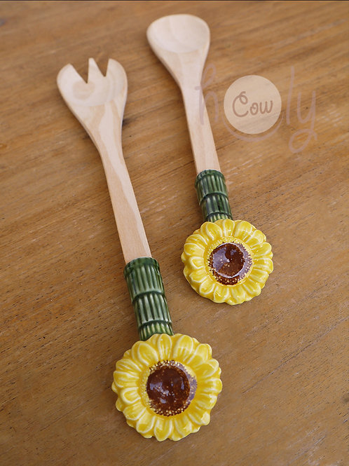 Salad Servers With Sunflower Ceramic Tops