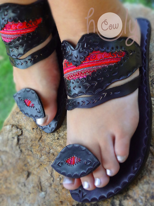 Crazy Pink Hmong Leather Sandals