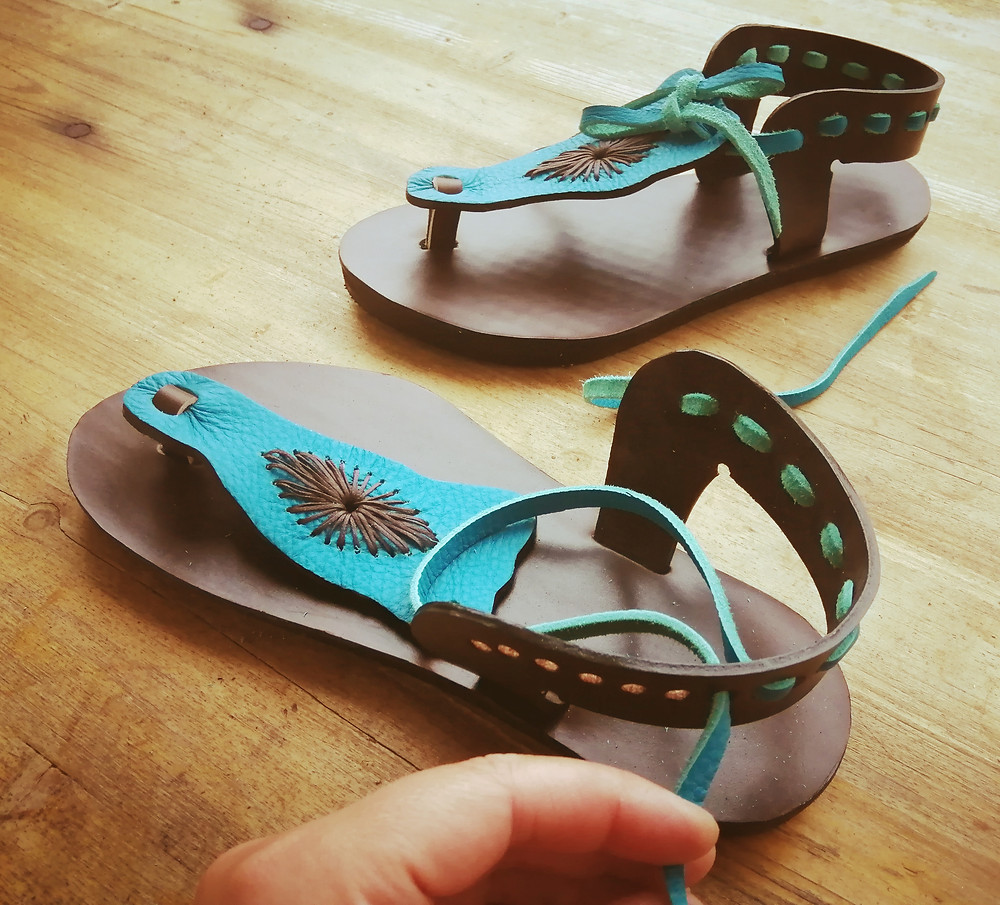 Handmade turquoise and brown leather sandals