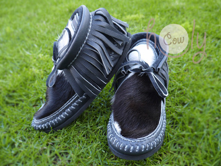 Gray Leather Cowhide Moccasin Boots
