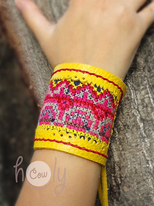 Yellow Leather Hmong Bracelet