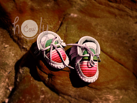 Hand Stitched White Leather Baby Serape Moccasins