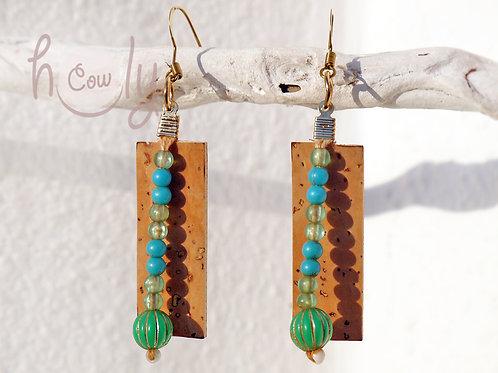 Cork Earrings With Tribal Vintage Beads