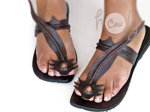 Handmade Brown Leather Gecko Sandals