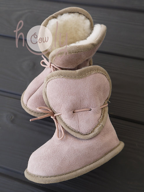 Baby Boots With Love Heart Design