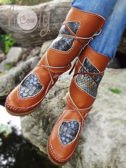 Moccasins With Snake Leather Print