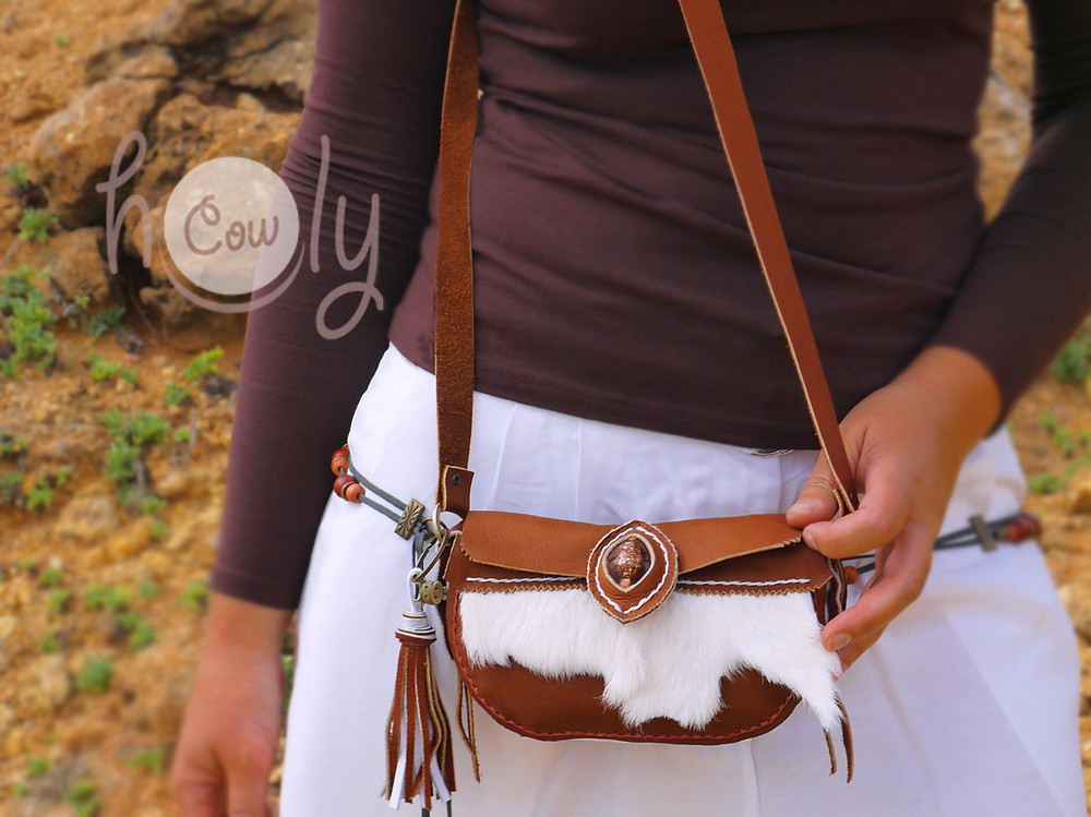 Brown Leather Shoulder Bag With Hairy Cowhide.