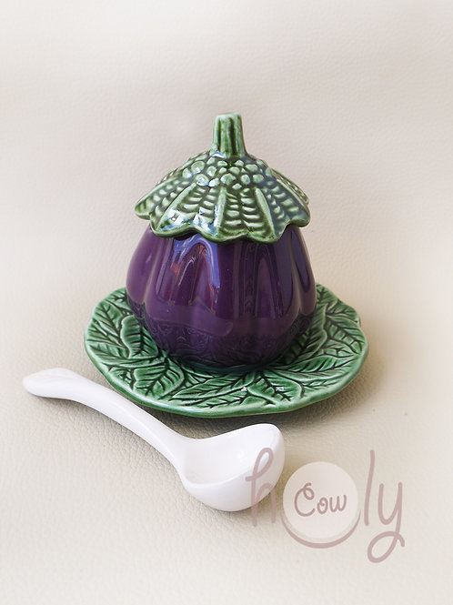 Aubergine Bowl With Spoon on Leaf Plate
