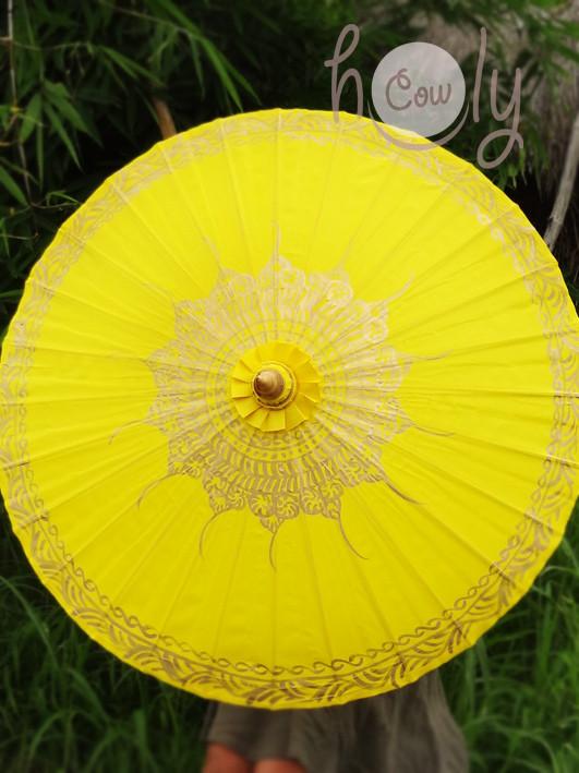 Hand Painted Yellow Parasol / Umbrella