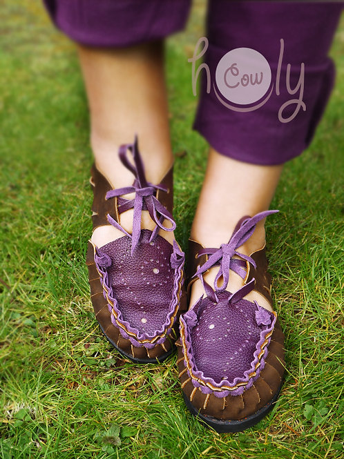 Brown & Purple Leather Sandals