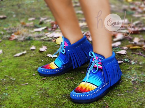 Blue Suede Serape Moccasin Boots