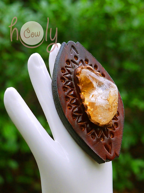 Adjustable Leather Ring with Gemstone
