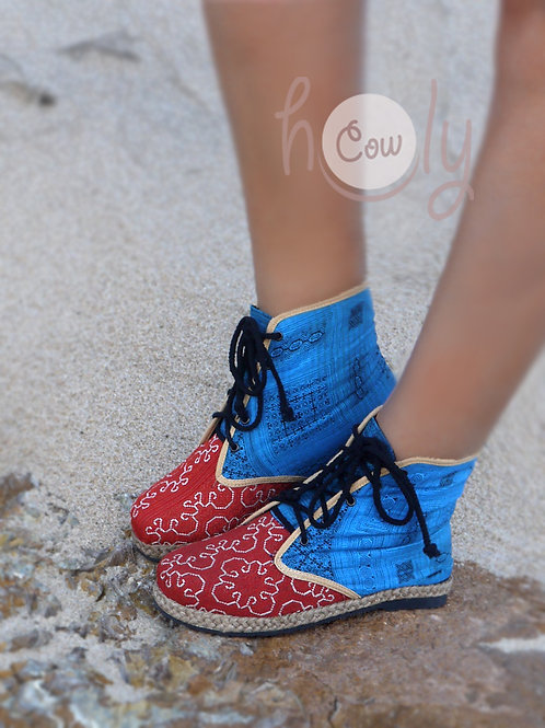 Boho Red And Blue Vegan Ankle Boots