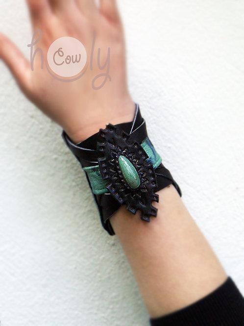 Leather Bracelet With Gemstone
