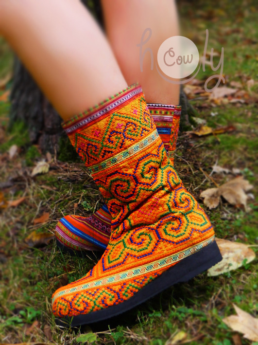 New Orange Women's Tribal Vegan Boots