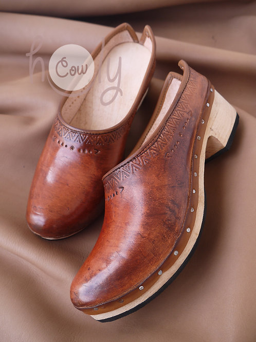 Boho Crazy Brown Leather Clogs