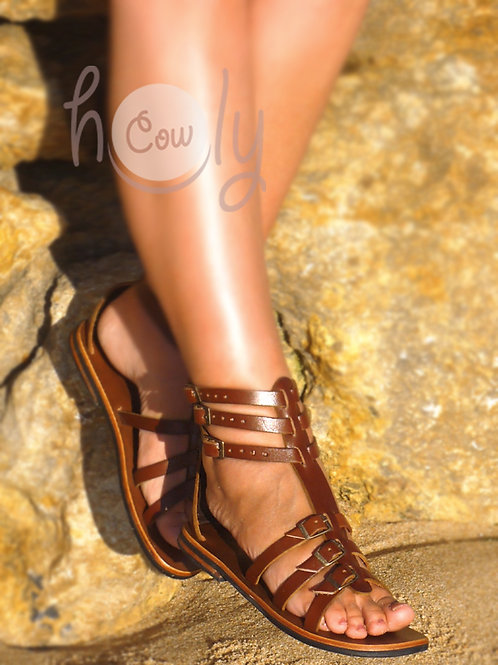 Gladiator Brown Leather Sandals