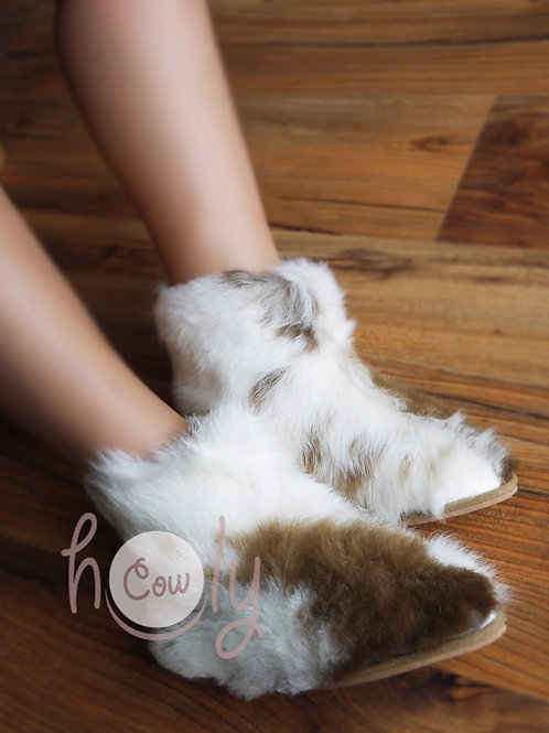 Brown And White Sheepskin Slippers