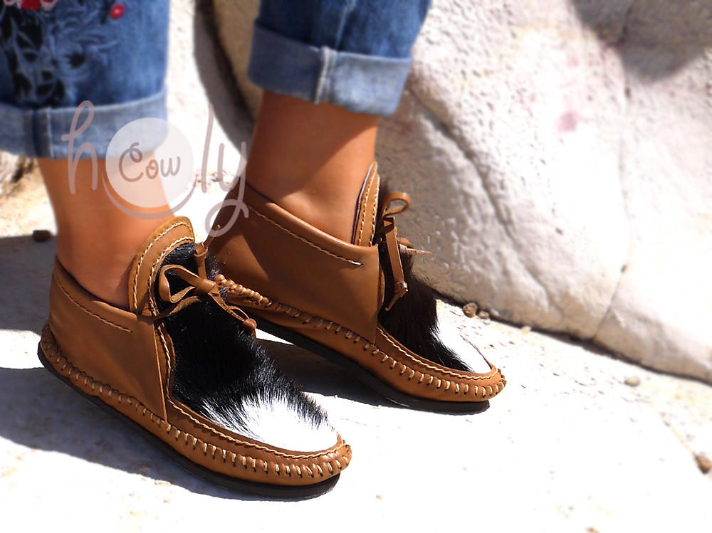 Hand Stitched Brown Leather Cowhide Moccasins
