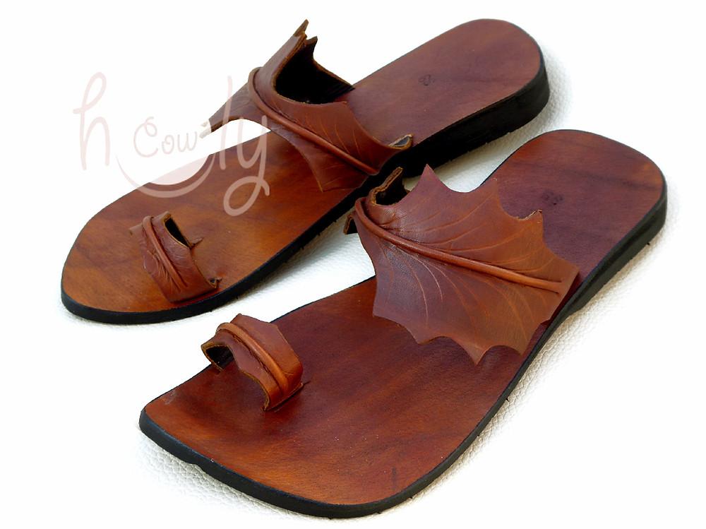 Handmade Brown Leather Leaf Sandals