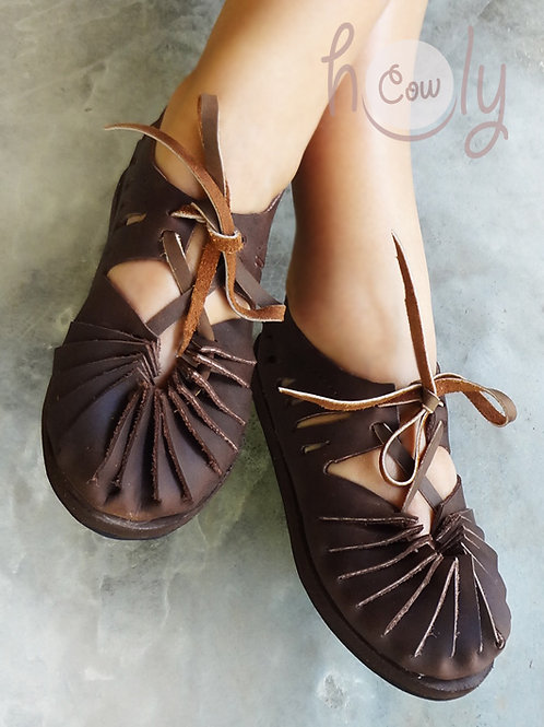 """Crazy Horse"" Brown Leather Sandals"