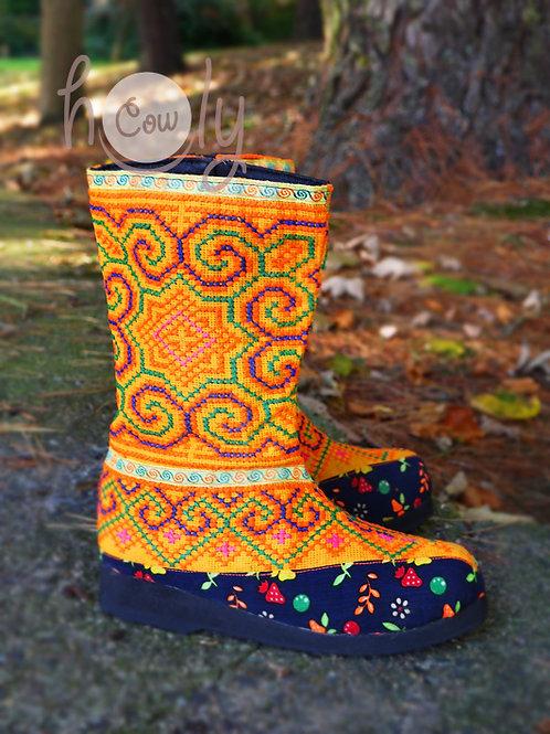 Funky Orange Tribal Vegan Boots