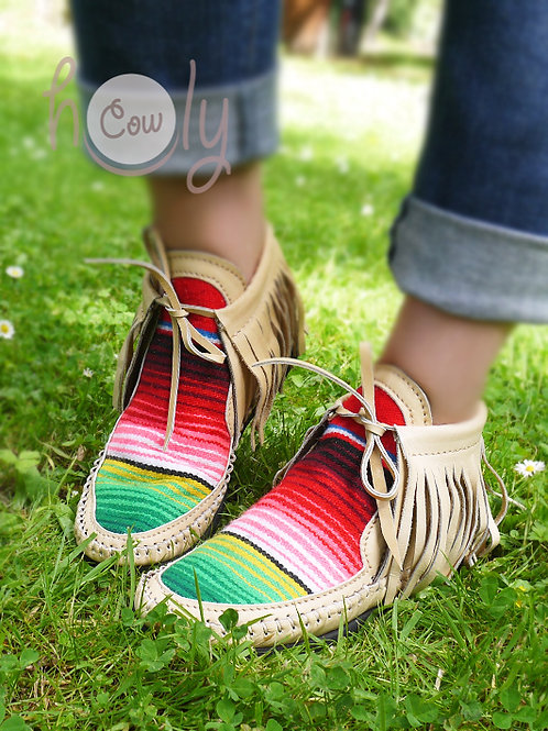 Beige Leather Serape Moccasins