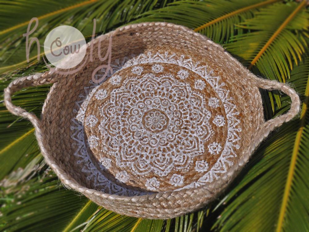 Eco Friendly Beautiful Hand Painted Mandala Woven Basket