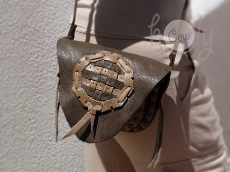 New Handmade Brown And Beige Medieval Leather Shoulder Bag