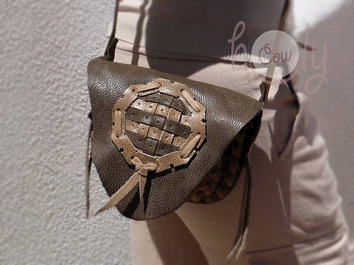 Brown And Beige Medieval Leather Bag