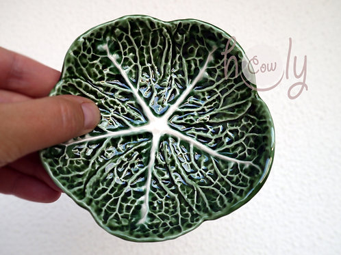 Small Ceramic Cabbage Leaf Dish