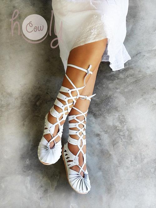 """Taj Mahal"" White Leather Sandals"