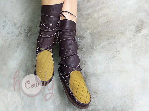 Brown And Yellow Leather Moccasins