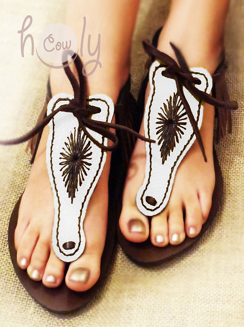 Brown & White Leather Sandals