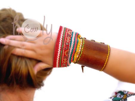 Unique Brown Leather Hmong Bracelet
